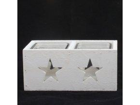 Svícen dřevěný bílý hvězda 18,5cm