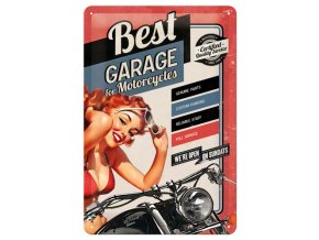 Plechová cedule Best Garage For Motocycles