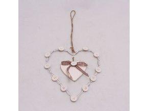 Srdce s knoflíčky 13cm