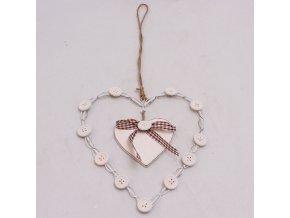 Srdce s knoflíčky 15cm