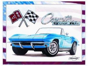Plechová cedule Corvette Sting Ray blue