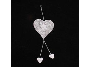 Kovové srdce s menšími srdíčky závěs 44cm