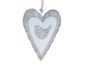 Srdce s ptáčkem kov závěs