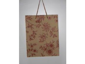 Dárková taška s květinami 24cm