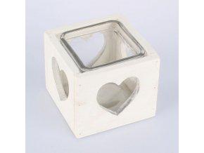Svícen dřevěný bílý srdce 9,5cm