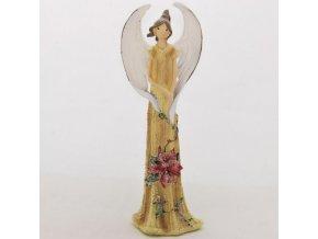 Anděl stojící s cesmínou 22cm