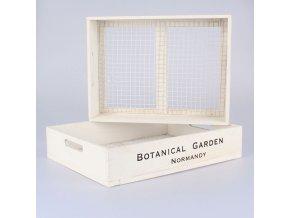 Dřevěné přepravky s pletivem bílé, 2ks 43 × 9 × 33/40 × 8 × 30 cm