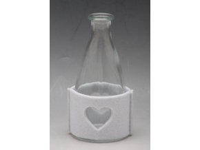 Láhev sklo bílá se srdíčkem