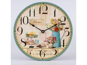 Nástěnné hodiny zátiší s květinami 30x30x1cm