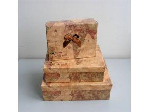Dárkové krabice s motivem mapy, set 3 ks, tmavé