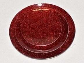 Tác skleněný červená mražená kruh