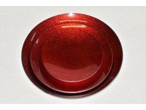 Tác skleněný červená perleť kruh