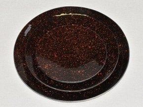 Tác skleněný hnědá mražená kruh