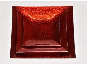 Tác skleněný červená mražená čtverec