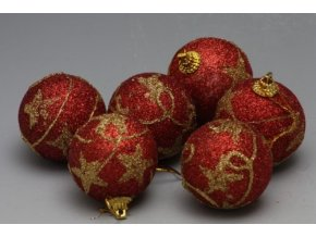 Vánoční koule červená 6ks
