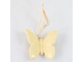 Keramický motýlek závěs žlutý 4x4 cm