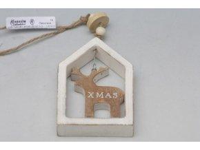 Vánoční dekorace v rámečku bílá