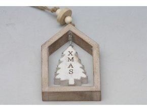Vánoční dekorace v rámečku hnědá