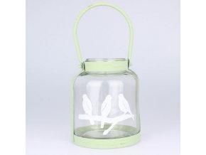 Závěsný svícen s motivem ptáčků 15,5×18×15,5 cm