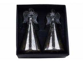 Skleněný anděl s ozdobnou sukní k zavěšení