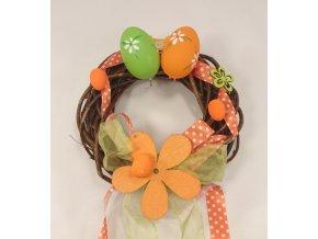Velikonoční věnec oranžovo zelený