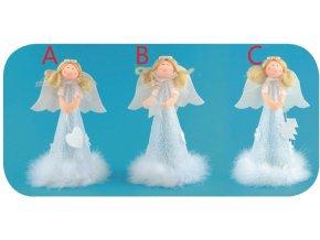 Anděl na postavení v sukni s peřím 18cm