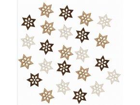 Dřevěné hvězdy hnědé 2cm Set 24ks