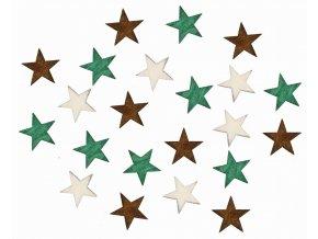 Dřevěné hvězdy hnědé a zelené 2cm Set 24ks