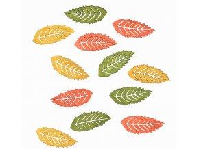 Dřevěné listy barevné 4cm 12ks