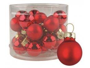 Vánoční ozdoby červené skleněné 12ks 2cm