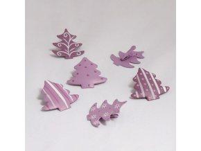 Kovové ozdobné kolíčky Stromeček fialový 3,5x3,5cm