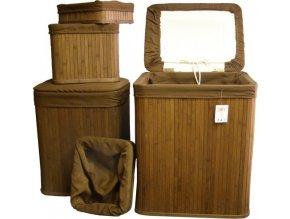 Prádelní koš bambusový sada 4ks