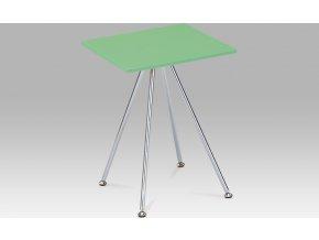 Odkládací stolek zelený lesklý | chromová konstrukce