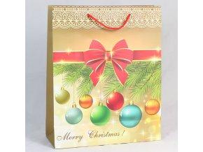 Dárková taška Merry Christmas Vánoční ozdoby 26×32×10cm