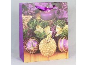 Dárková taška Vánoční ozdoby fialová 31×42×12cm