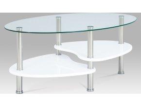 Konferenční stolek skleněný | police vysoký lesk bílý | konstrukce leštěný nerez