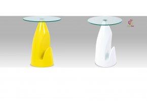 Odkládací stolek ve vysokém lesku | deska z čirého skla | 61x50cm