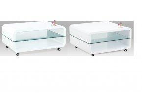 Konferenční stolek bílý pojízdný | skleněná police