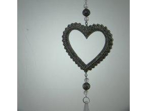 Stříbrné srdce s přívěskem
