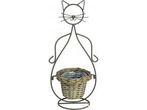Obal proutěný na kovovém stojanu kočka