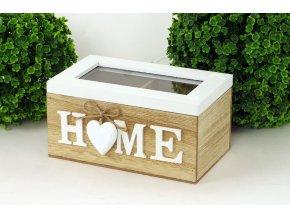 Krabička na čajové sáčky - dřevěná - Home