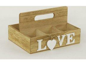 Krabička na čajové sáčky - dřevěná - Love