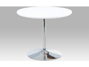 Jídelní stůl kulatý bílý lesklý 90cm
