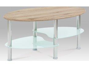 Konferenční stolek 90x55x42 cm, san remo / bílé sklo / leštěný nerez