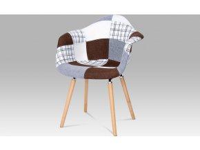 Jídelní židle patchwork | šedohnědý | masiv buk