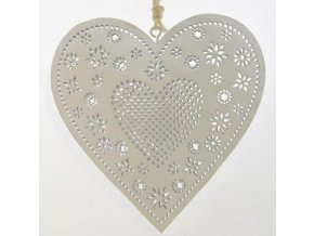 Bílé kovové dekorační srdce na zavěšení 11,5x11,5x1,5 cm