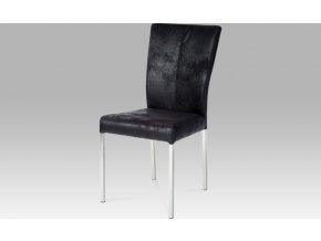 Jídelní židle| látka černá imitace broušené kůže | nerez