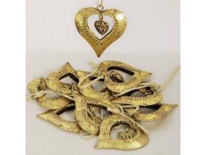 Kovová srdce | na zavěšení | zlatá