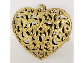 Zlatá kovová srdce na zavěšení sada 6 kusů 2