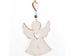 Dřevěný dekorační anděl bílý 2